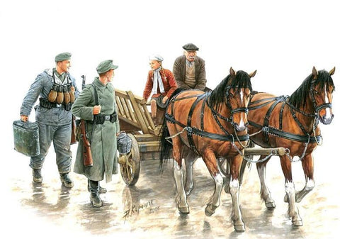 Master Box Ltd 1/35 Somewhere in Europe 1944 (4 Figures, 2 Horses & Cart) Kit