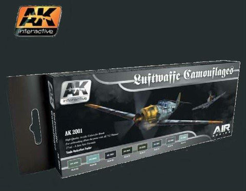 AK Interactive Air Series: Luftwaffe Camouflages Vol.1 Acrylic Paint Set (8 Colors) 17ml Bottles