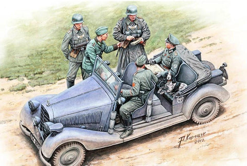 Master Box Ltd 1/35 Where are the damed roads? WWII German Military Car (w/5 Figures & Dog) Kit