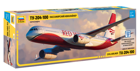 Zvezda 1/144 Tupolev Tu204-100 Red Wings Passenger Airliner Kit