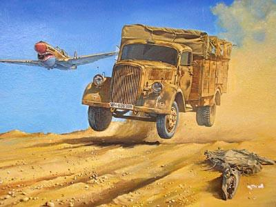 This is a plastic model assembly kit of the Roden Military 1/72 WWII German Army Opel Blitz (Kfz305) 4x2 Cargo Truck