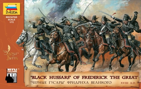 Zvezda Military 1/72 Black Hussars of Frederick II The Great of Prussia XVIII Century (19 Mtd) Kit
