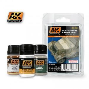 AK Interactive Dust Effects & White Spirit Enamel Paint Set (11, 15, 22)