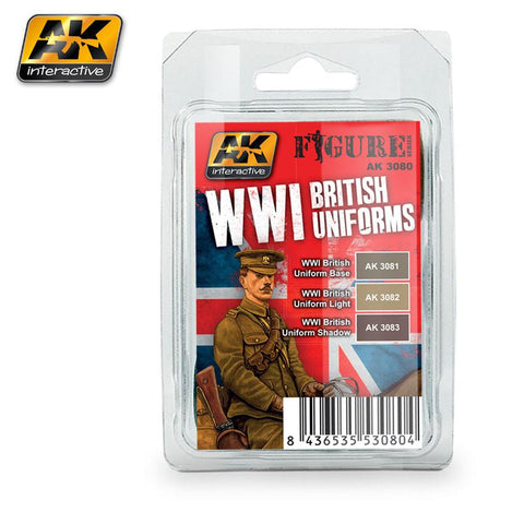 AK Interactive Figure Series: WWI British Uniforms Acrylic Paint Set (3 Colors) 17ml Bottles