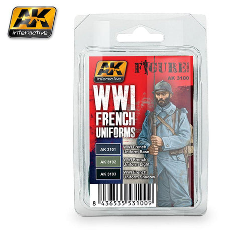 AK Interactive Figure Series: WWI French Uniforms Acrylic Paint Set (3 Colors) 17ml Bottles