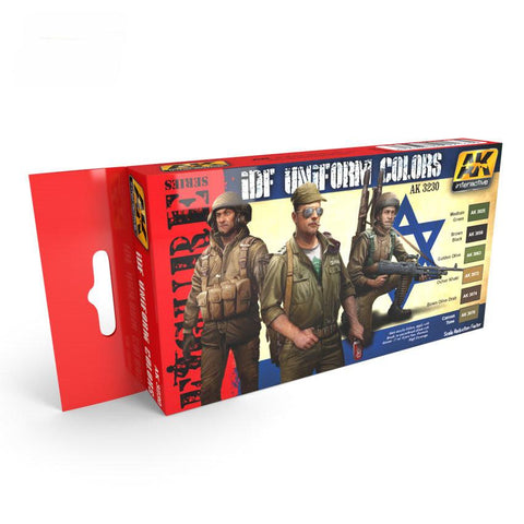 AK Interactive Figure Series: IDF Uniform Colors Acrylic Paint Set (6 Colors)