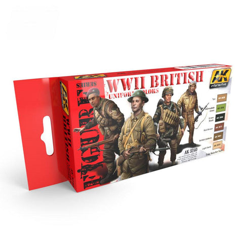AK Interactive Figure Series: WWII British Uniform Colors Acrylic Paint Set (6 Colors)