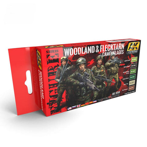 AK Interactive Figure Series: Woodland & Flecktarn Camouflage Acrylic Paint Set (6 Colors)