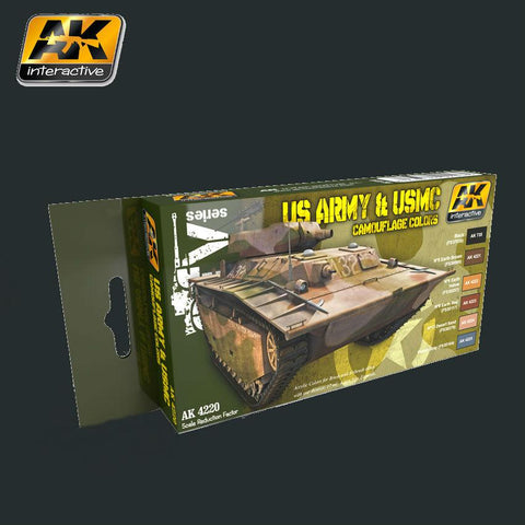 AK Interactive AFV Series: US Army & USMC Camouflage Acrylic Paint Set (6 Colors) 17ml Bottles