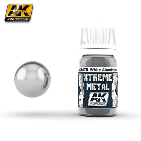AK Interactive Xtreme Metal White Aluminum Metallic Paint 30ml Bottle