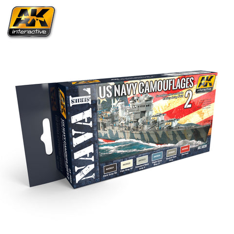 AK Interactive Naval Series: US Navy WWII Camouflage Vol. 2 Acrylic Paint Set (6 Colors) 17ml Bottles