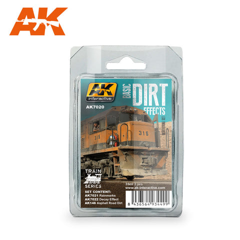 AK Interactive Train Series: Basic Dirt Effects Weathering Enamel Paint Set (3 Colors) 35ml Bottles