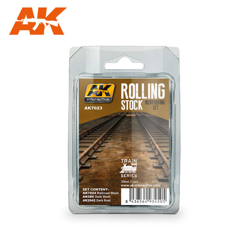 AK Interactive Train Series: Rolling Stock Weathering Paint Set (3 Colors) 35ml Bottles