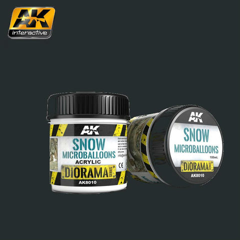 AK Interactive Diorama Series: Snow Microballoons Powder Texture Acrylic 100ml Bottle