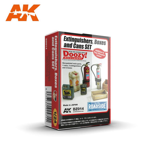 AK Interactive 1/24 Doozy Series: Fire Extinguishers, Crates & Cans Set (7) (Resin)