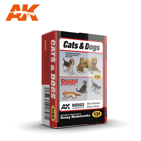 AK Interactive 1/24 Doozy Series: Cats & Dogs (3 ea) (Resin)