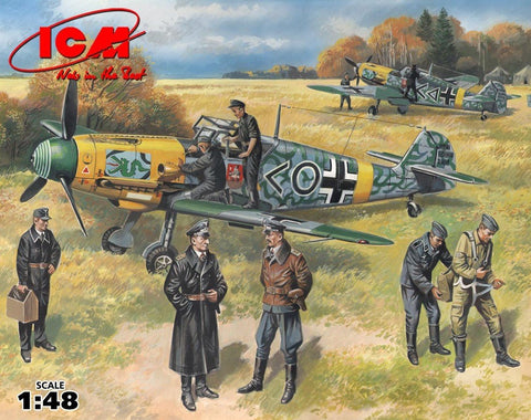 ICM 1/48 Bf109F2 Fighter w/Pilots & Ground Personnel 1939-45 (7 Figures) Kit