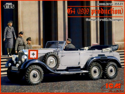 ICM 1/35 WWII German G4 1939 Production Staff Car w/4 Figures Kit