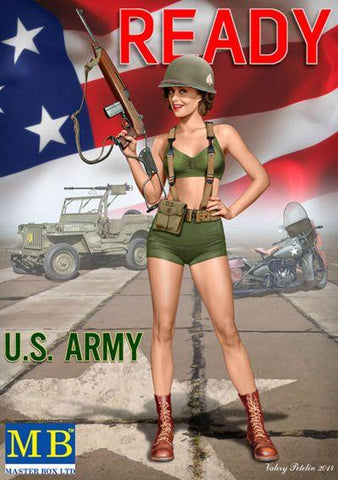 Master Box Ltd 1/24 Alice US Army Pin-Up Girl Standing Holding Rifle Kit