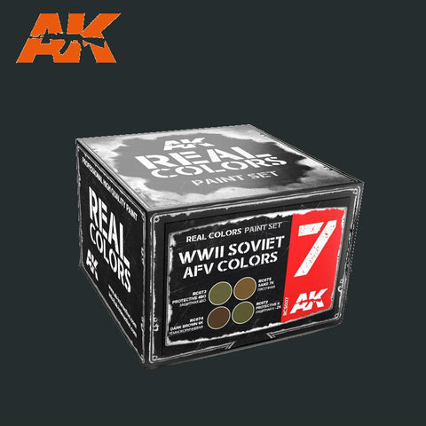 AK Interactive Real Colors: WWII Soviet AFV Acrylic Lacquer Paint Set (4) 10ml Bottles