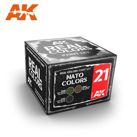 AK Interactive Real Colors: NATO Colors Acrylic Lacquer Paint Set (3) 10ml Bottles
