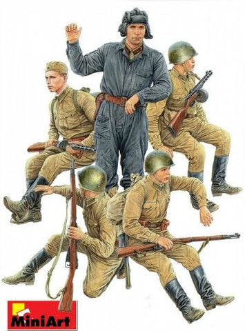 MiniArt Military Models 1/35 Soviet Soldiers Riders (5) Special Edition Kit