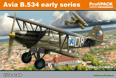 Eduard Aircraft 1/72 Avia B534 Early Series BiPlane Fighter Dual Combo Prof-Pack Kit