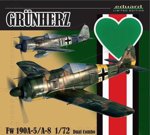 Eduard Aircraft 1/72 WWII Fw190A5/A8 Grun Herz German Fighter Dual Combo Ltd. Edition Kit