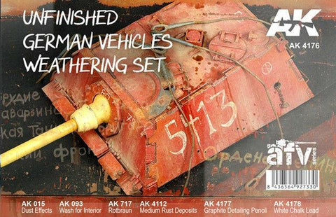AK Interactive AFV Series: Unfinished German Vehicles Weathering Enamel Set (4 Colors, 2 Pencils) 35ml Bottles