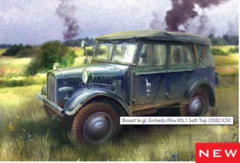 ICM Military Models 1/35 WWII German le.gl.Einheitz PkwKfz 1 Light Personnel Car w/Soft Top Kit