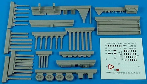 Aerobonus Details 1/48 USAF Flightline F2A Steel-Type Platform Trailer w/Racks