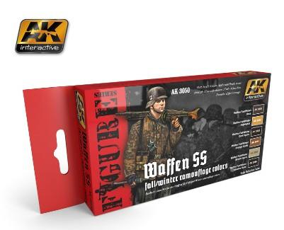 AK Interactive Figure Series: Waffen SS Fall/Winter Camouflage Acrylic Paint Set (6 Colors) 17ml Bottles