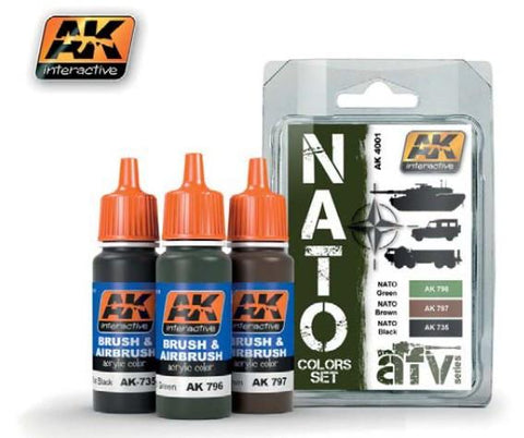 AK Interactive NATO AFV Colors Acrylic Paint Set (3 Colors) 17ml Bottles