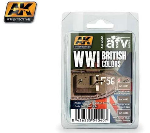 AK Interactive WWI British Colors Khaki Brown Modulation Acrylic Paint Set (3 colors) 17ml Bottles