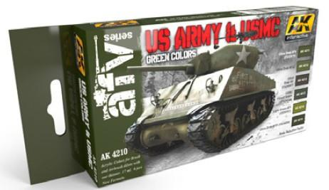AK Interactive AFV Series: US Army & USMC Green Acrylic Paint Set (6 Colors) 17ml Bottles