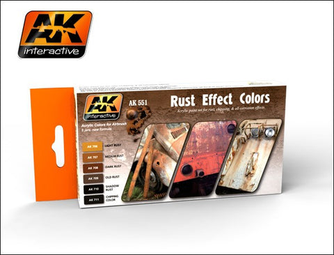 AK Interactive Rust Effects Acrylic Paint Set (6 Colors) 17ml Bottles