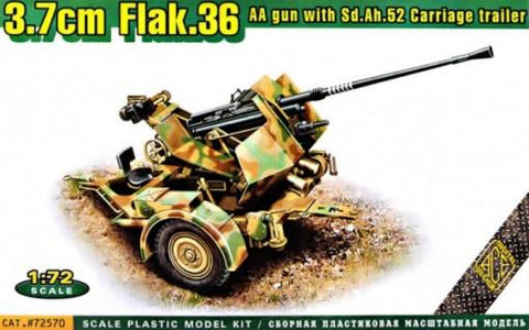 Ace Military 1/72 3.7cm Flak 36 AA Gun w/SdAh52 Carriage Trailer Kit