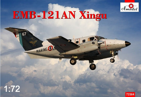 A Model From Russia 1/72 EMB121AN Xingu French Navy Twin-Turboprop Aircraft Kit