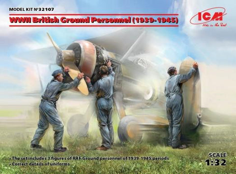 ICM Military Models 1/32 WWII British Ground Personnel 1939-1945 (3) (New Tool) Kit