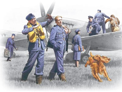 ICM Military 1/48 WWII RAF Pilots & Ground Personnel (7) w/Dog 1939-1945 Kit