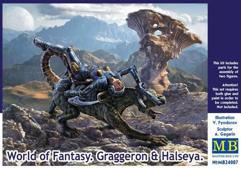 Master Box Ltd 1/24 World of Fantasy: Graggeron & Halseya Female Warrior Lying on Animal Kit