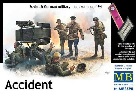 Master Box 1/35 Accident, German Soldiers (2) & Soviet Soldiers (3) Kit