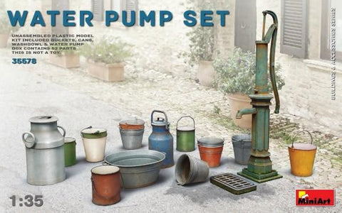 MiniArt Military 1/35 Water Pump Set w/Buckets, Cans, Etc Kit