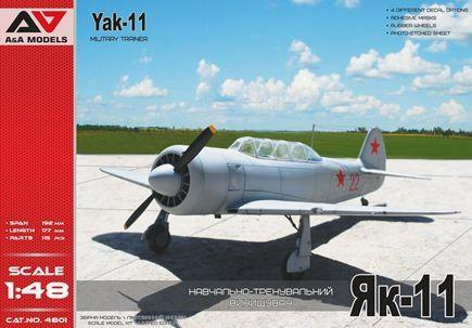 This is a plastic model airplane assembly kit of the Modelsvit Aircraft 1/48 scale Yak11 Military Trainer