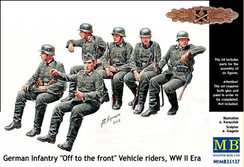 Master Box Ltd 1/35 WWII German Infantry Off to the Road Vehicle Riders (6) Kit