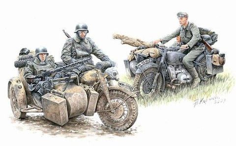 Master Box 1/35 German Motorcycle Troops on the Move (4) Kit