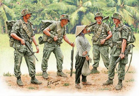 Master Box Ltd 1/35 US Soldiers Patrolling Vietnam (4 & Woman) Kit