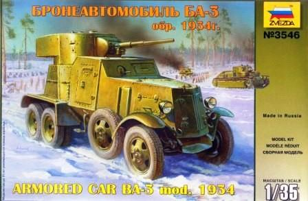 Zvezda Military 1/35 Soviet BA3 Mod. 1934 Armored Car Kit