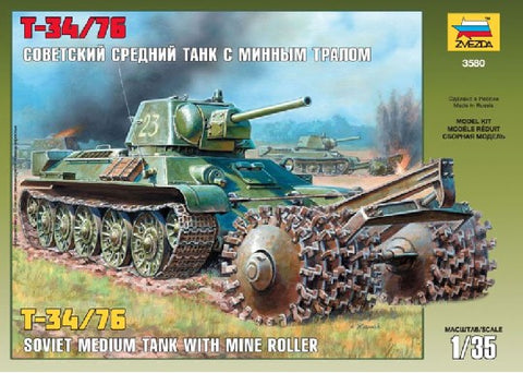 Zvezda Military 1/35 Soviet T34/76 Medium Tank w/Mine Roller Kit