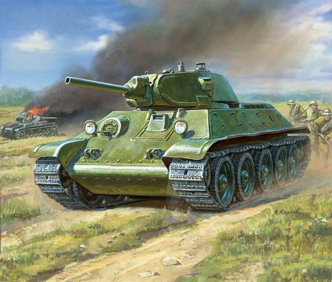 Zvezda Military 1/100 Soviet T34/76 Mod 1940 Medium Tank Kit